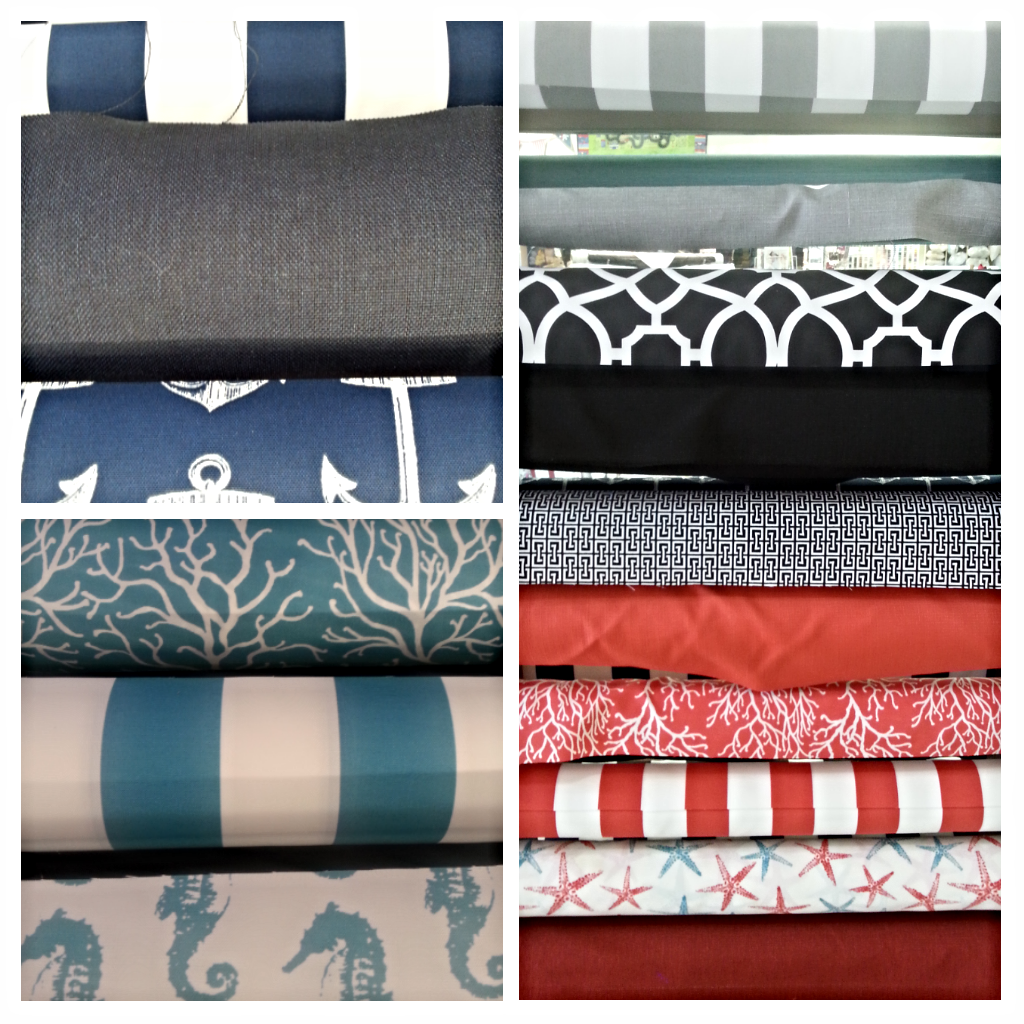 All the outdoor fabrics are both mildew and UV resistant, and we have outdoor rated threads to match!